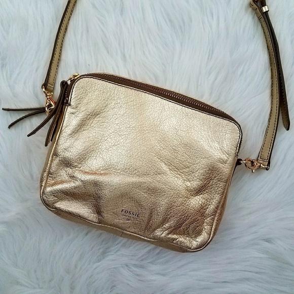 Fossil Handbags - Fossil Sydney Crossbody Bag Gold Metallic a0f9a4d8af3a8